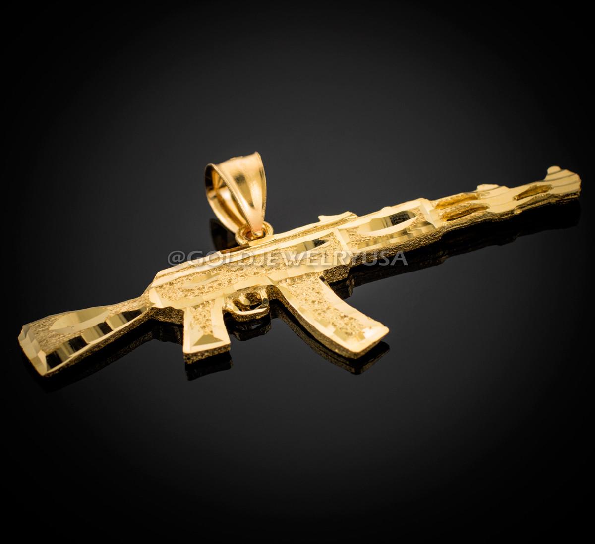 Solid Gold AK-47 Rifle Gun Pendant