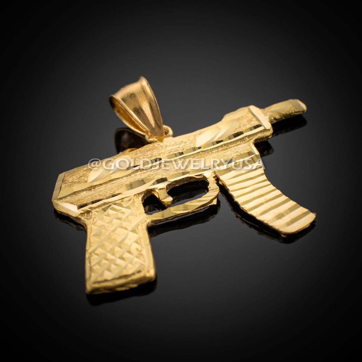 Gold Machine Gun Pistol Diamond Cut Pendant