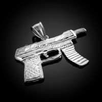 White Gold Machine Gun Pendant