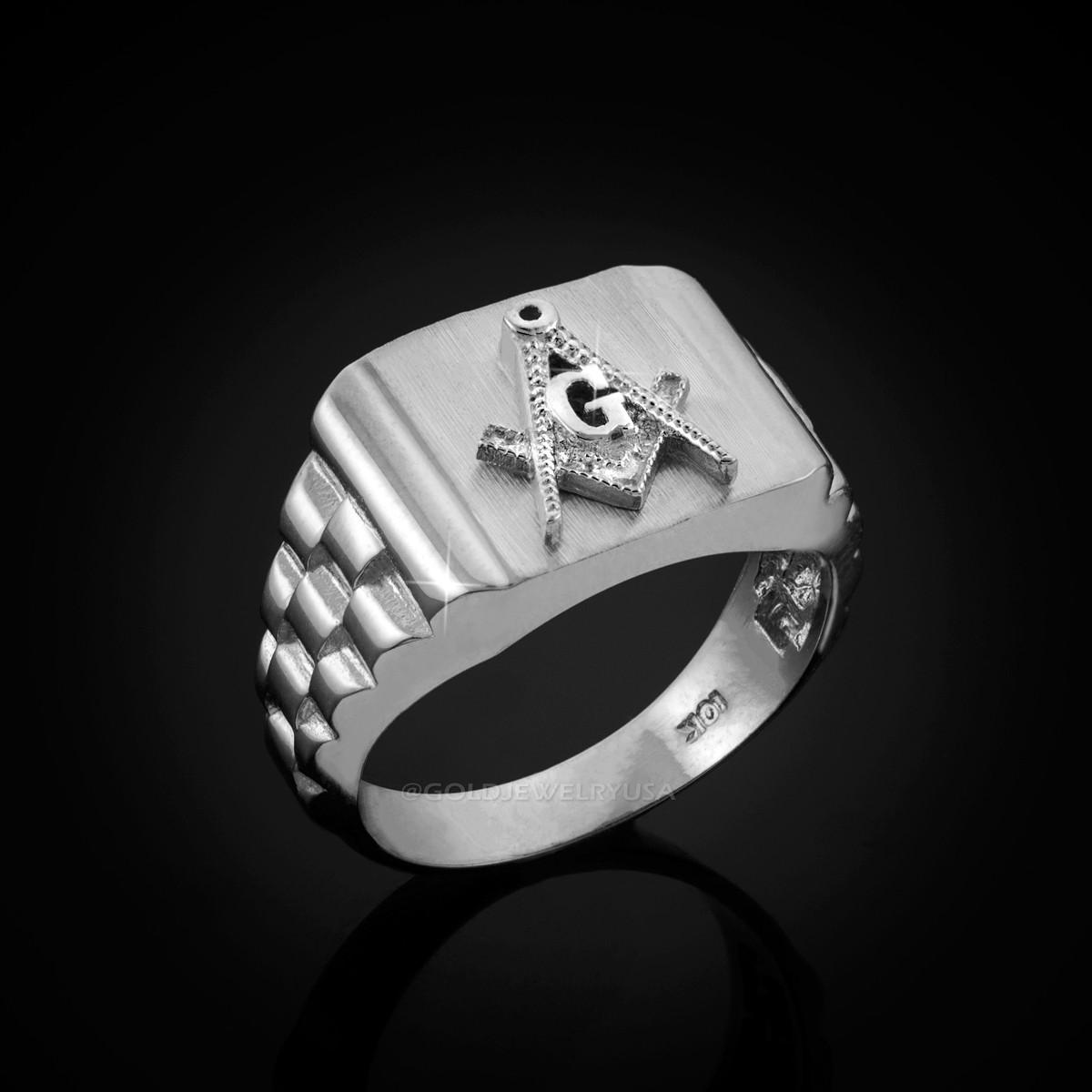 Mens White Gold Masonic Rolex Ring