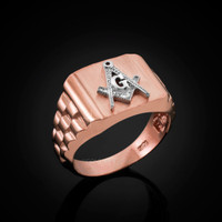 Rose Gold Masonic Ring