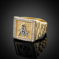 Gold Masonic Square CZ Mens Watchband Ring