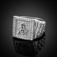 White Gold Masonic Square CZ Mens Watchband Ring