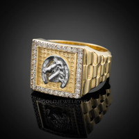 Gold Horseshoe Men's CZ Ring.