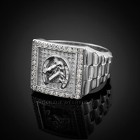 White Gold Horseshoe Men's CZ Ring.