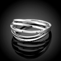 Solid White Gold Layered Ring