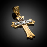 Two-tone Gold Claddagh Cross Pendant Necklace