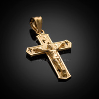 Gold Crucifix Cross Pendant Necklace