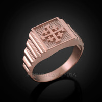 Rose Gold Jerusalem 'Crusaders' Cross Ring