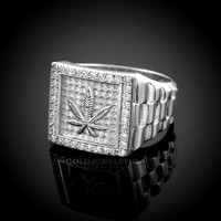 White Gold Marijuana CZ Ring.