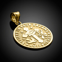 Gold Reversible Graduation Medallion Charm Pendant