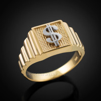 Gold Dollar Sign Square Mens Ring