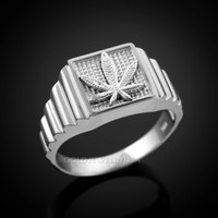 White Gold Marijuana Weed Leafs Square Mens Ring