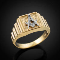 Gold Masonic Square Mens Ring