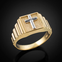 Gold Cross Square Mens Ring