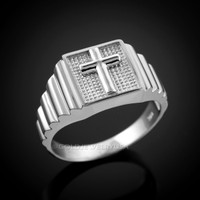 White Gold Cross Square Mens Ring