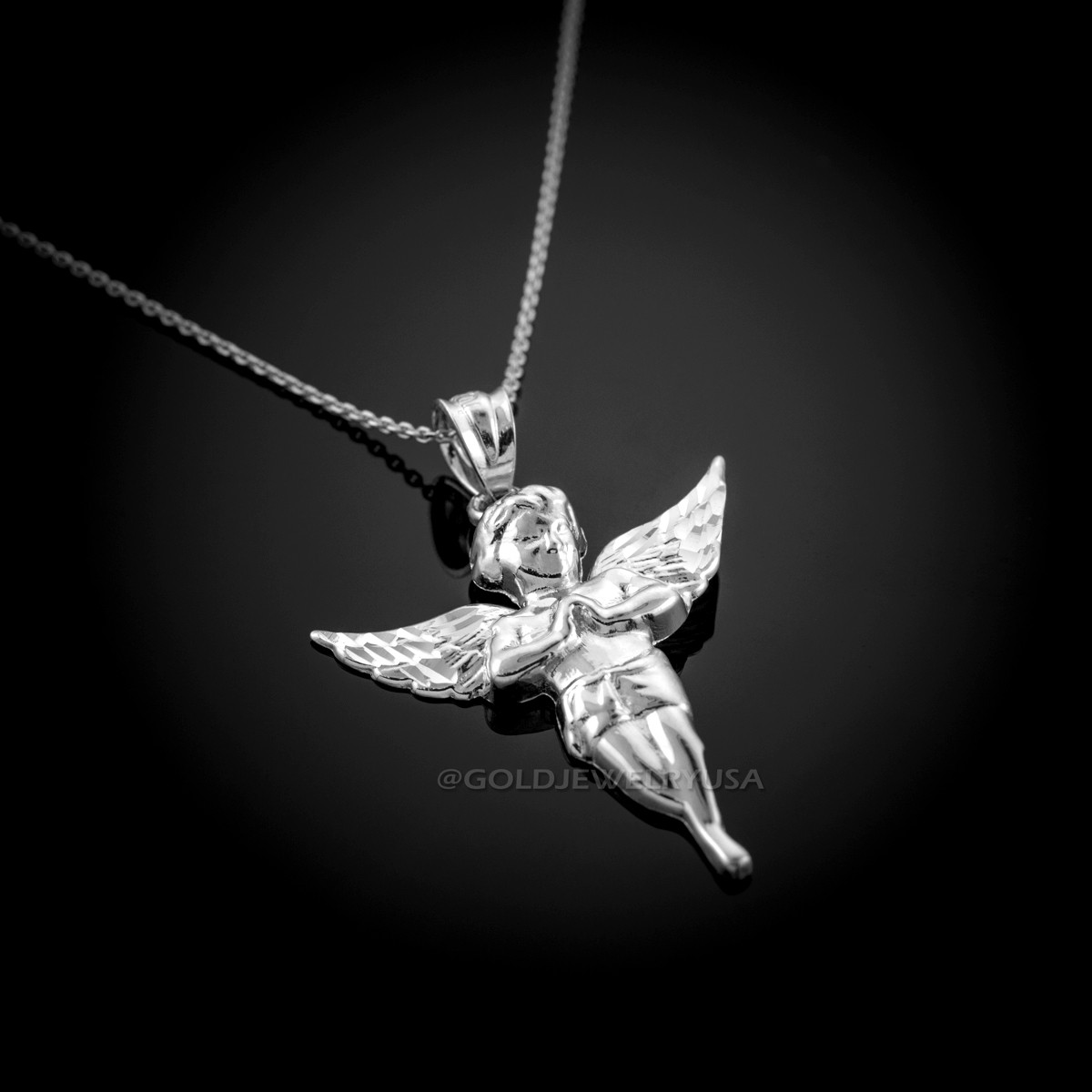 White gold angel pendant necklace polished white gold angel necklace loading zoom aloadofball Image collections