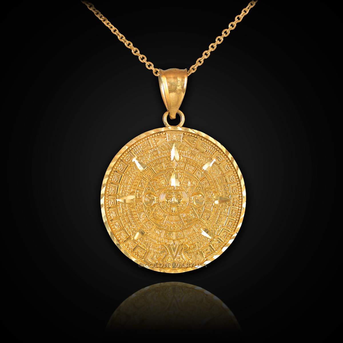 Gold aztec mayan sun calendar necklace gold aztec calendar necklace loading zoom aloadofball Image collections