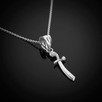White Gold Scimitar Necklace