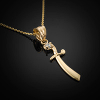 Gold Scimitar CZ Charm Necklace