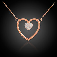 14K Rose Gold Open Heart Diamond Pave Heart Enclosure Necklace