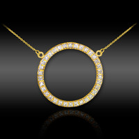 14K Gold Eternity Circle of Life Diamond Karma Ring Necklace