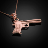 Rose Gold Pistol Necklace