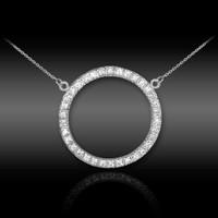 14K White Gold Eternity Circle of Life Diamond Karma Ring Necklace