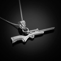 White Gold Sniper Rifle Necklace