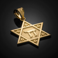Gold Star of David Chai Pendant