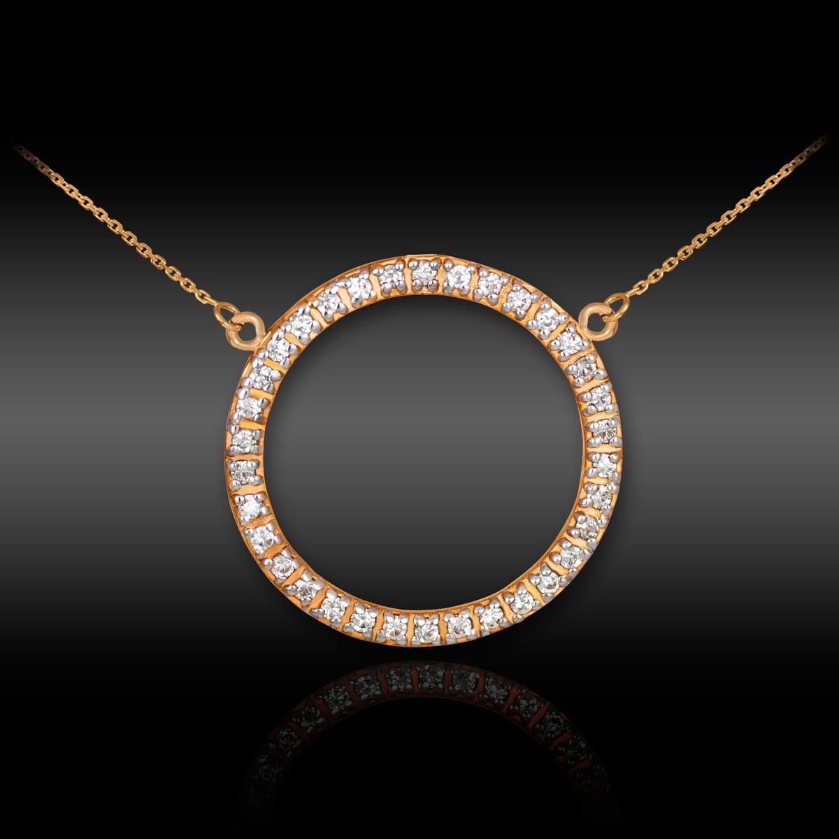 54e6389b4e3 14K Rose Gold Eternity Circle of Life Diamond Karma Ring Necklace. Image 1.  Loading zoom
