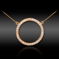 14K Rose Gold Eternity Circle of Life Diamond Karma Ring Necklace