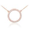 14K Rose Gold Eternity Circle of Life Diamond Karma Ring Necklace