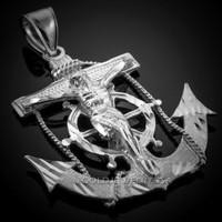 White Gold Mariner Crucifix Cross Pendant