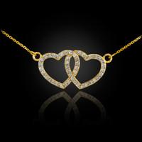 14K Gold Diamond Studded Double Heart Necklace