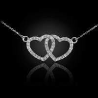 14K White Gold Diamond Studded Double Heart Necklace