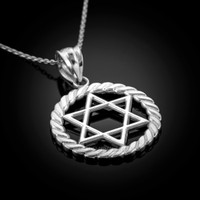 White Gold Star of David Pendant Necklace