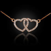 14K Rose Gold Diamond Studded Double Heart Necklace