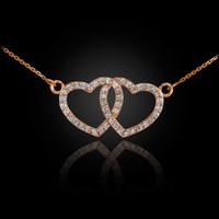 14K Rose Gold Diamond Studded Double Heart Necklace