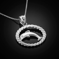 White Gold Dolphin Pendant Necklace