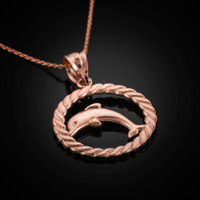 Rose Gold Dolphin Pendant Necklace