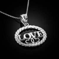 White Gold LOVE Pendant Necklace