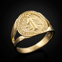 Gold Saint Benedict Medallion Ring