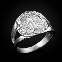 White Gold Saint Benedict Medallion Ring