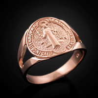 Rose Gold Saint Benedict Medallion Ring