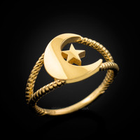 Gold Crescent Moon Islamic Ring