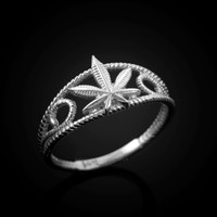 White Gold Marijuana Cannabis Filigree Womens Ring