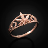 Rose gold ladies marijuana ring.