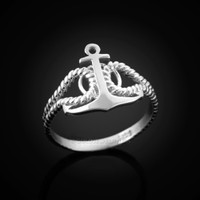 White Gold Anchor Ladies Ring