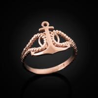 Rose gold anchor ring.